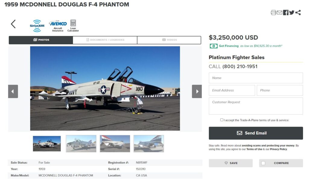 Fighter Planes Go for Sale Online: 1980 Production F16 and More