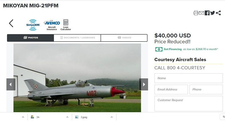 The cheapest fighter jet sold on the internet, the Russian made MIG 21